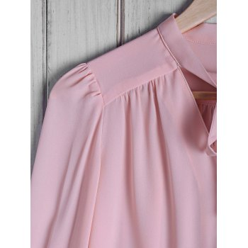 Stylish Women's Bow Tie Collar Solid Color Long Sleeve Blouse - PINK PINK