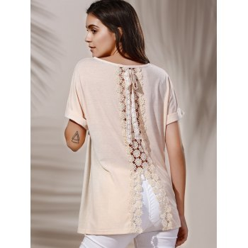 Stylish Lace Embellished Short Sleeve Scoop Neck Women's T-Shirt - KHAKI M