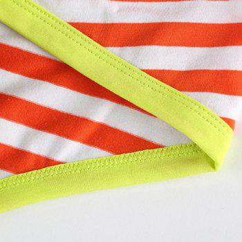 U Pouch Design Golden Letter Print Mesh Splicing Stripe Men's Band Briefs - RED XL