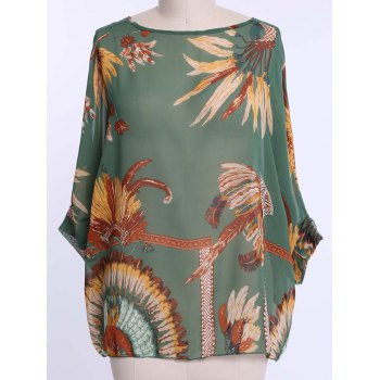 Chiffon Bohemian Style Color Block Loose-Fitting Comfortable Blouse - GREEN L