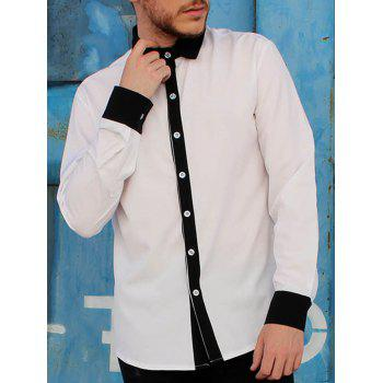 Shirt Collar Color Block Button Fly Slimming Men's Long Sleeves Shirt