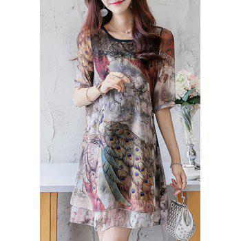 Mini Lace Panel Chiffon Print Dress