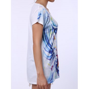 Casual Women's Scoop Neck Watercolor Print Short Sleeve T-Shirt - WHITE ONE SIZE(FIT SIZE XS TO M)