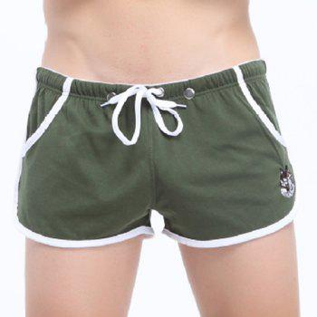 Embroidered Lace-Up Straight Leg Men's Boxer Shorts