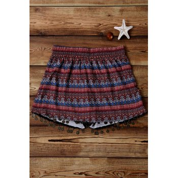 Stylish Wide Leg Ethnic Print Women's Shorts