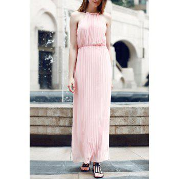 Pleated High Waist Maxi Dress