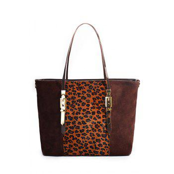 Trendy Leopard Print and Splicing Design Shoulder Bag For Women