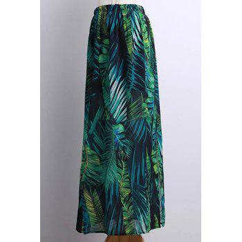 Bohemian Tropical Leaf Print Side Slit Skirt For Women