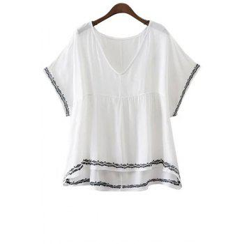 Trendy V-Neck Batwing Sleeve Embroidery T-Shirt For Women