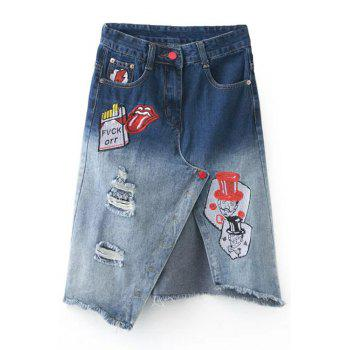 Trendy Cartoon Embroidery Front Slit Ombre Ripped Skirt For Women