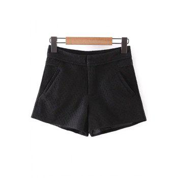 Trendy Solid Color Pockets Lace Shorts For Women - BLACK BLACK