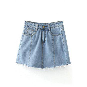 Trendy Pockets Solid Color Denim Mini Skirt For Women