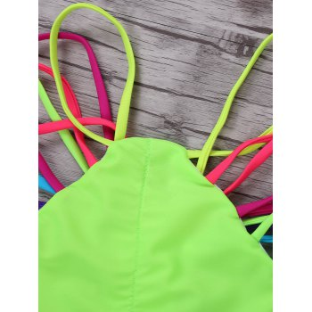 Sexy Halter Sleeveless Hollow Out Color Block Women's Bikini Set - COLORMIX COLORMIX