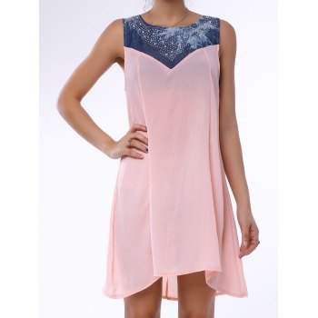 Fashionable Sleeveless Rhinestone Embellished Denim Splicing Dress For Women - LIGHT PINK LIGHT PINK