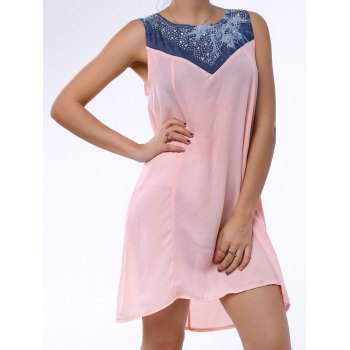 Fashionable Sleeveless Rhinestone Embellished Denim Splicing Dress For Women