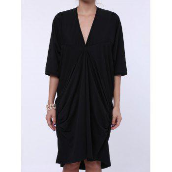 Casual Plunging Neck 3/4 Batwing Sleeve Ruffled Solid Color Women's Dress - BLACK ONE SIZE