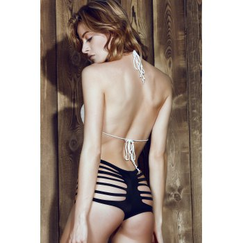 Sexy Mid-Waisted Cut Out Solid Color Women's Briefs - BLACK S