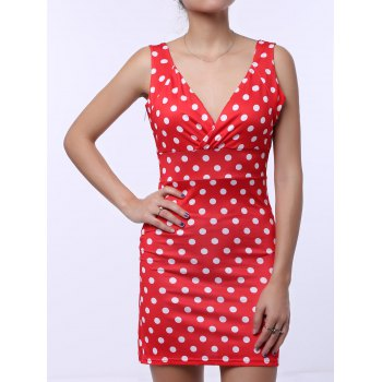 Plunging Neck Polka Dots Sleeveless Women's Vintage Bodycon Dress - RED L