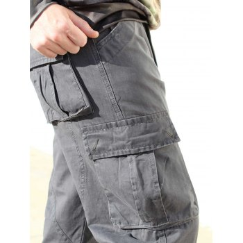 Multi Pockets Zipper Fly Military Cargo Pants - GRAY 30