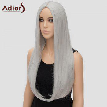 Fashion Long Straight Tail Adduction Middle Part Synthetic Universal Women's Adiors Cosplay Wig - SILVER WHITE