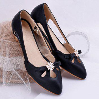 Casual Rhinestones and Hollow Out Design Women's Flat Shoes - BLACK BLACK