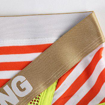 U Pouch Design Golden Letter Print Mesh Splicing Stripe Men's Band Briefs - RED S