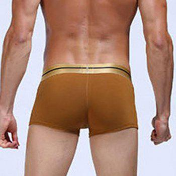 U Pouch Design Golden Button Embellished Men's Boxer Brief - EARTHY XL