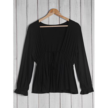 Trendy Women's Plunging Neck 3/4 Sleeve Black Blouse For Women - BLACK BLACK