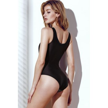 Stylish Women's Color Block Hollow Out One-Piece Swimsuit - BLACK L