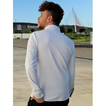 Button Embellished Pocket Turn-Down Collar Long Sleeve Men's Polo T-Shirt - WHITE L