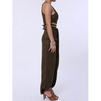 Sexy Spaghetti Strap Tank Top + Asymmetrical High-Waisted Skirt Women's Twinset - OLIVE GREEN ONE SIZE(FIT SIZE XS TO M)