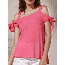 Chic Spaghetti Strap Solid Color Cut Out Women's Blouse