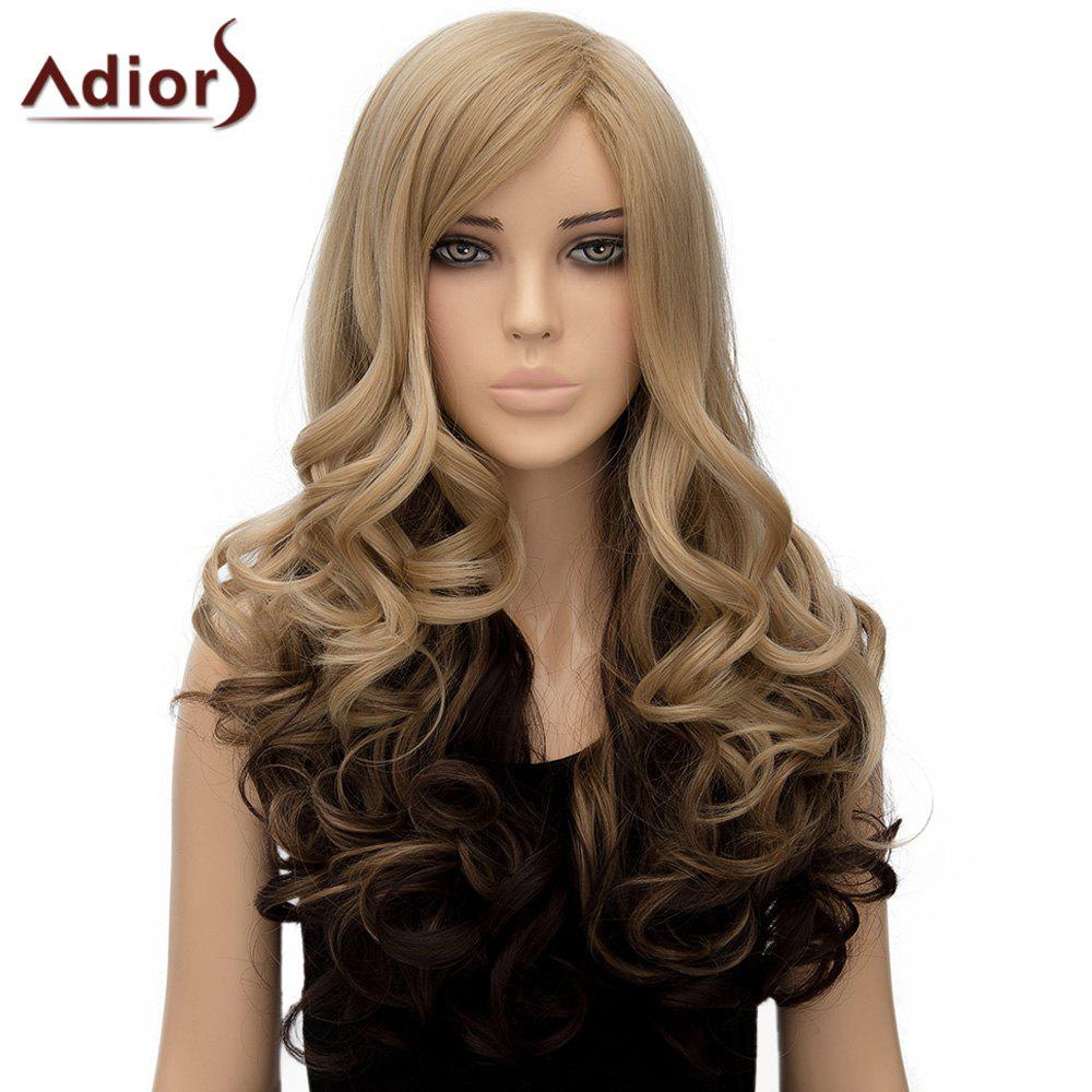Women's Nobby Adiors Side Bang Long Curly High Temperature Fiber Wig - OMBRE