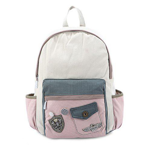Sweet Color Block and Canvas Design Women's Satchel - PINK