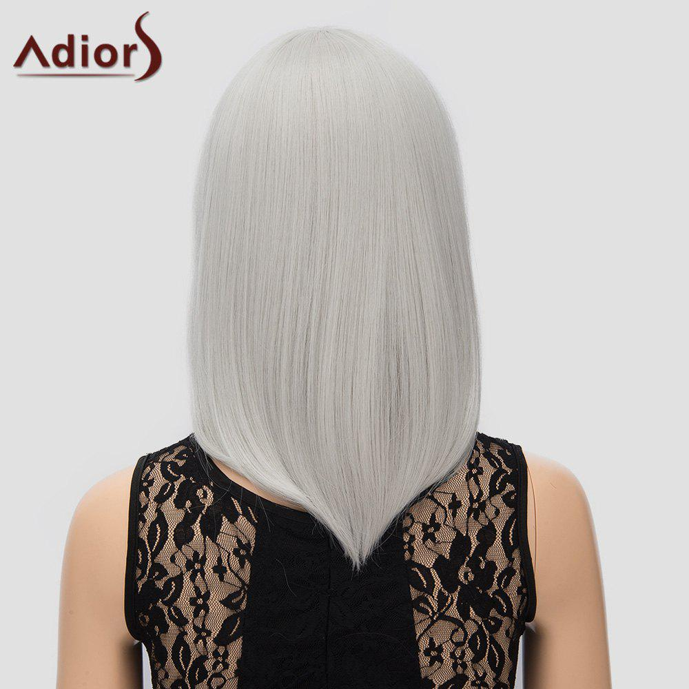 Stylish Women's Adiors Straight Inclined Bang High Temperature Fiber Cosplay Wig - SILVER WHITE