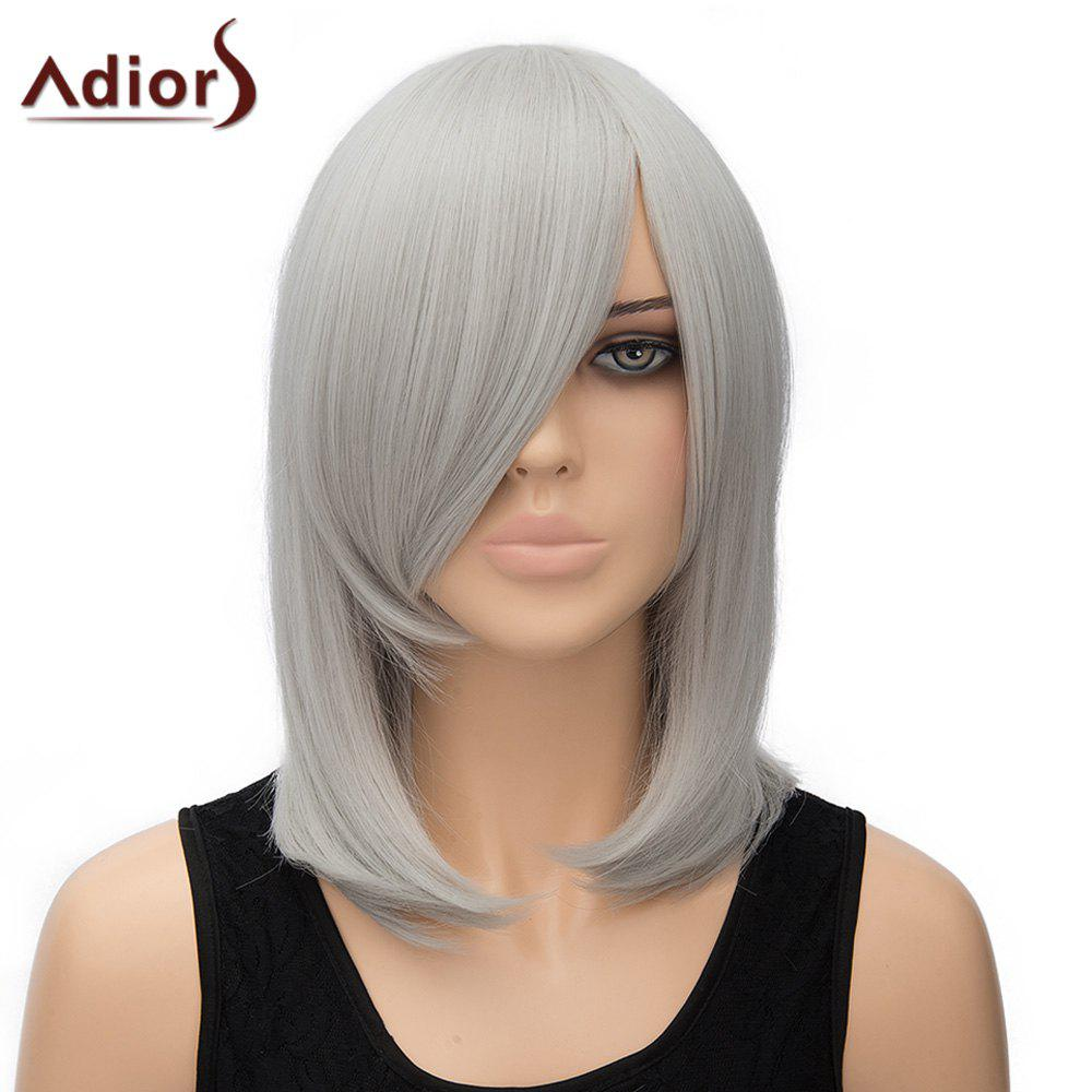 Stylish Women's Adiors Straight Inclined Bang High Temperature Fiber Cosplay Wig cosplay party makeup tilted bang short straight chemical fiber hair wig golden