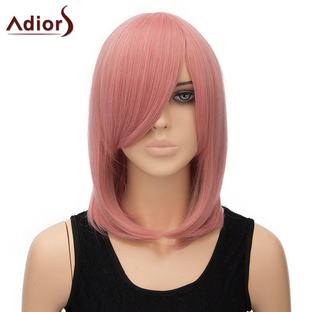 Women's Adiors Straight Inclined Bang High Temperature Fiber Stylish Cosplay Wig - PINK