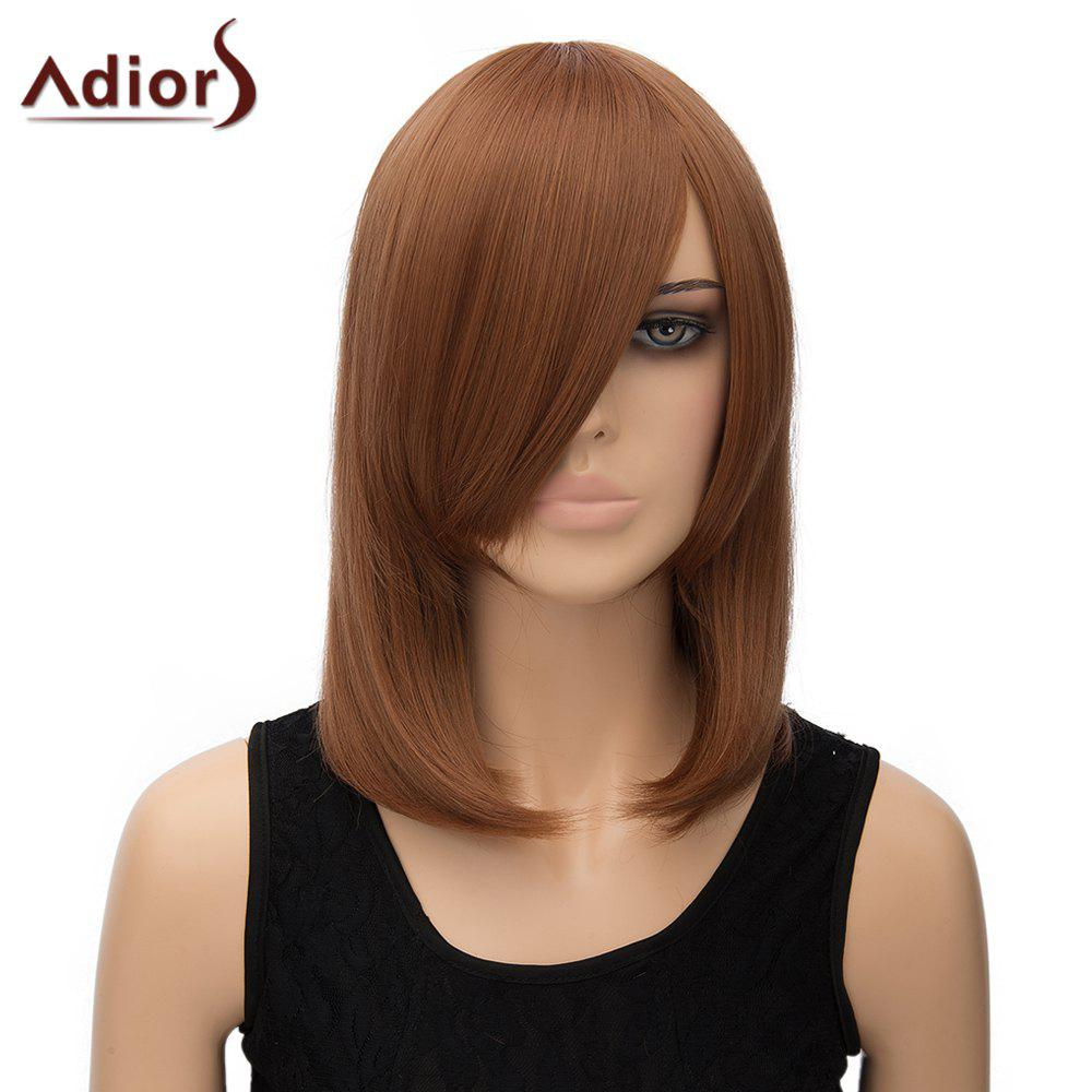 Women's Trendy Adiors Inclined Bang Straight High Temperature Fiber Cosplay Wig - LIGHT BROWN