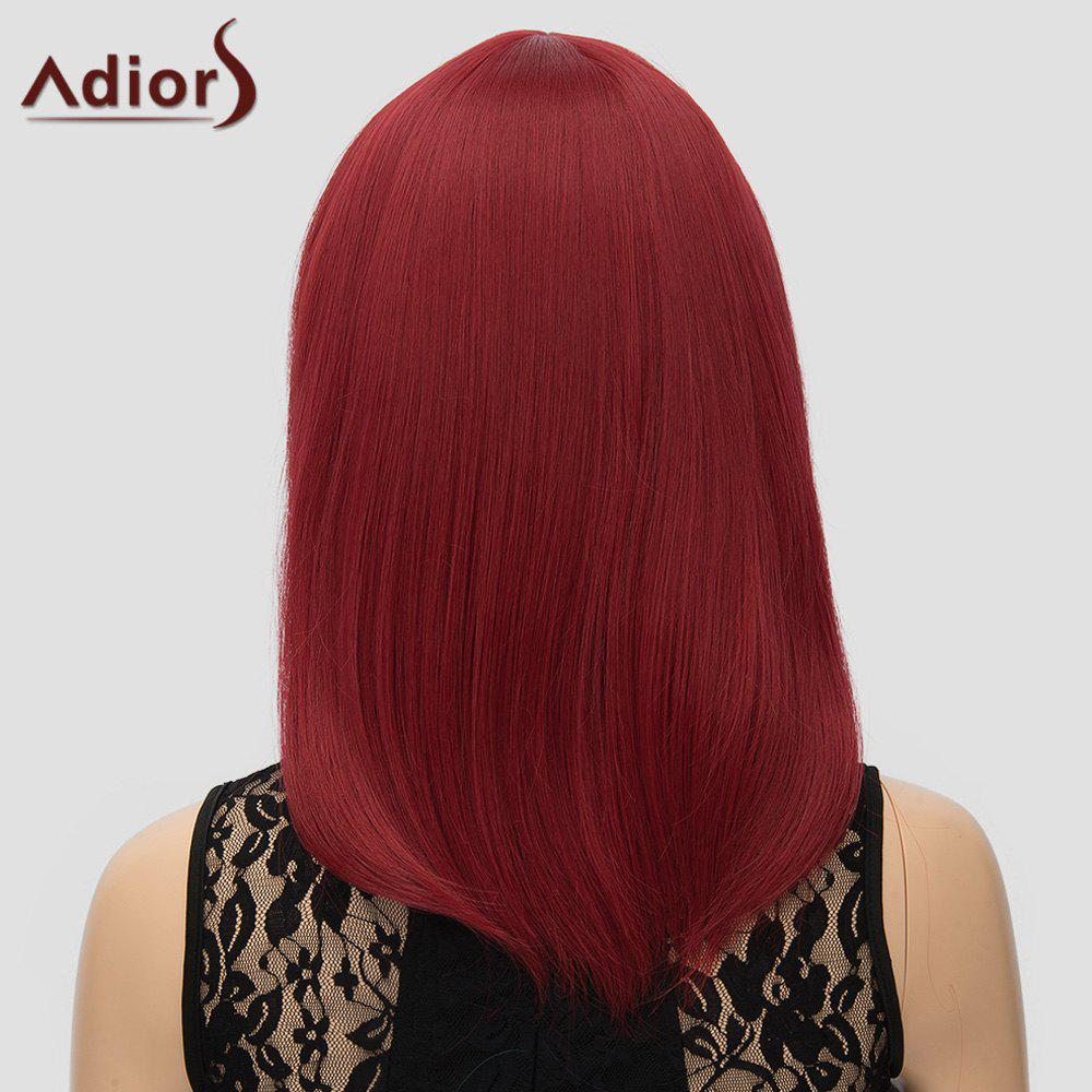 Women's Trendy Inclined Bang Straight High Temperature Fiber Adiors Cosplay Wig - WINE RED