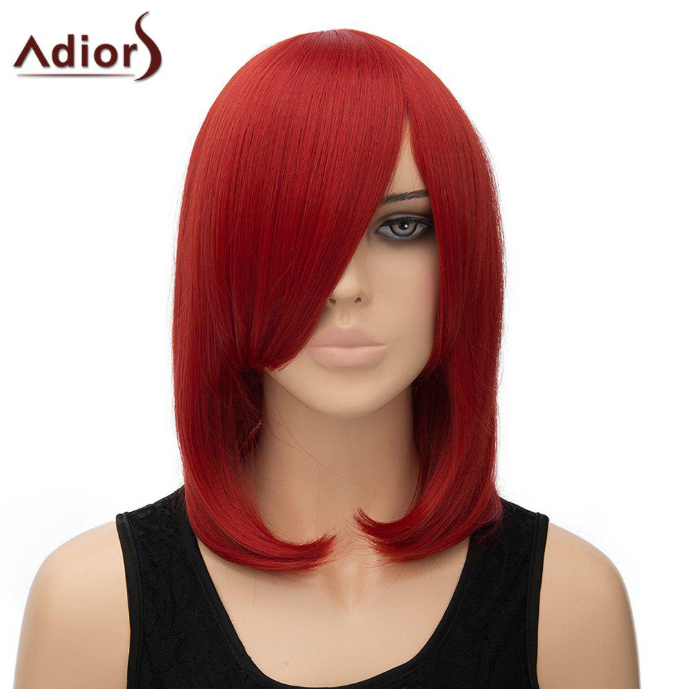 Women's Fashion Inclined Bang Straight High Temperature Fiber Adiors Cosplay Wig - RED