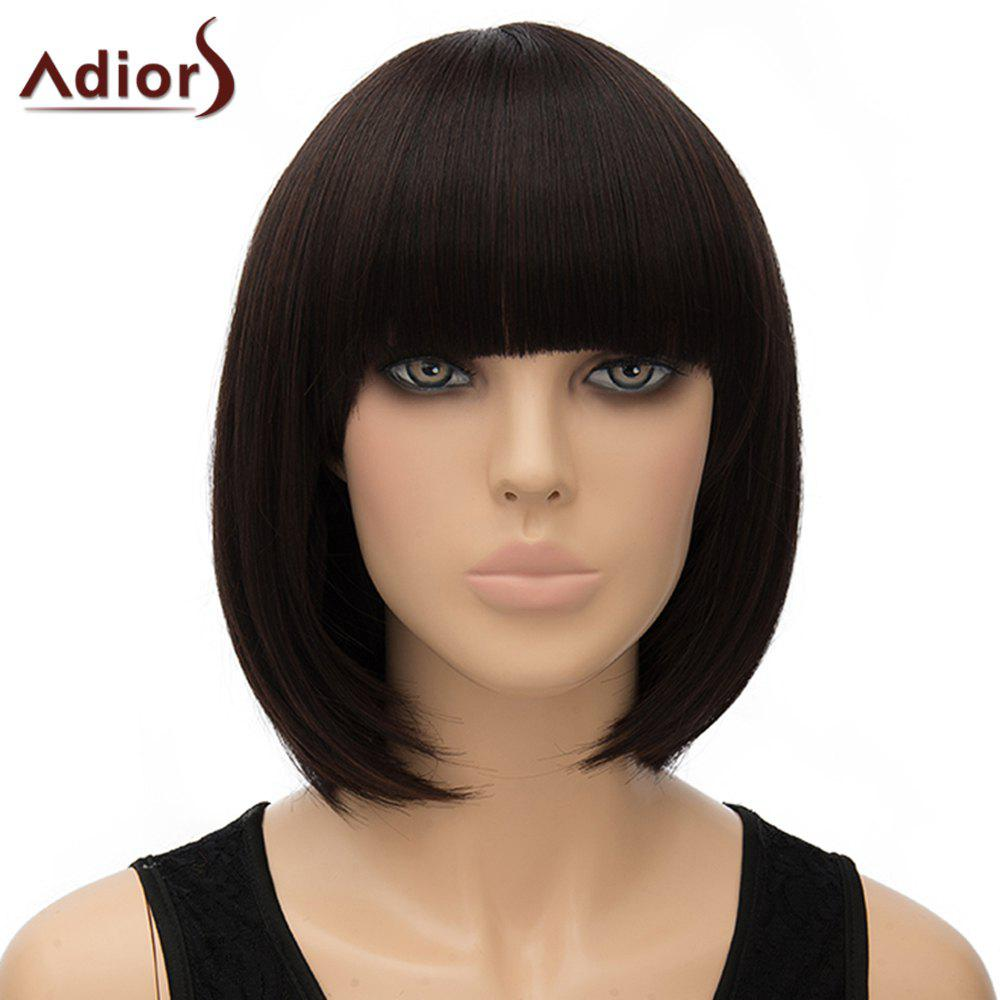 Sweet Short Full Bang Straight Dark Brown Synthetic Adiors Wig For Women