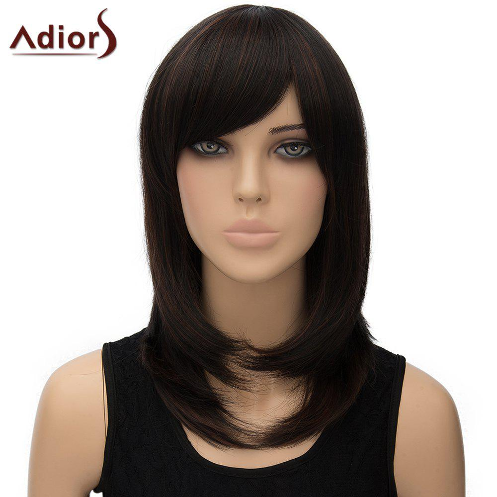 Charming Side Bang Straight Tail Adduction Long Dark Brown Women's Synthetic Adiors Wig