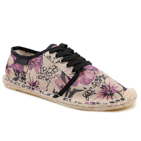Stylish Stitching and Floral Print Design Men's Canvas - 44 PURPLE
