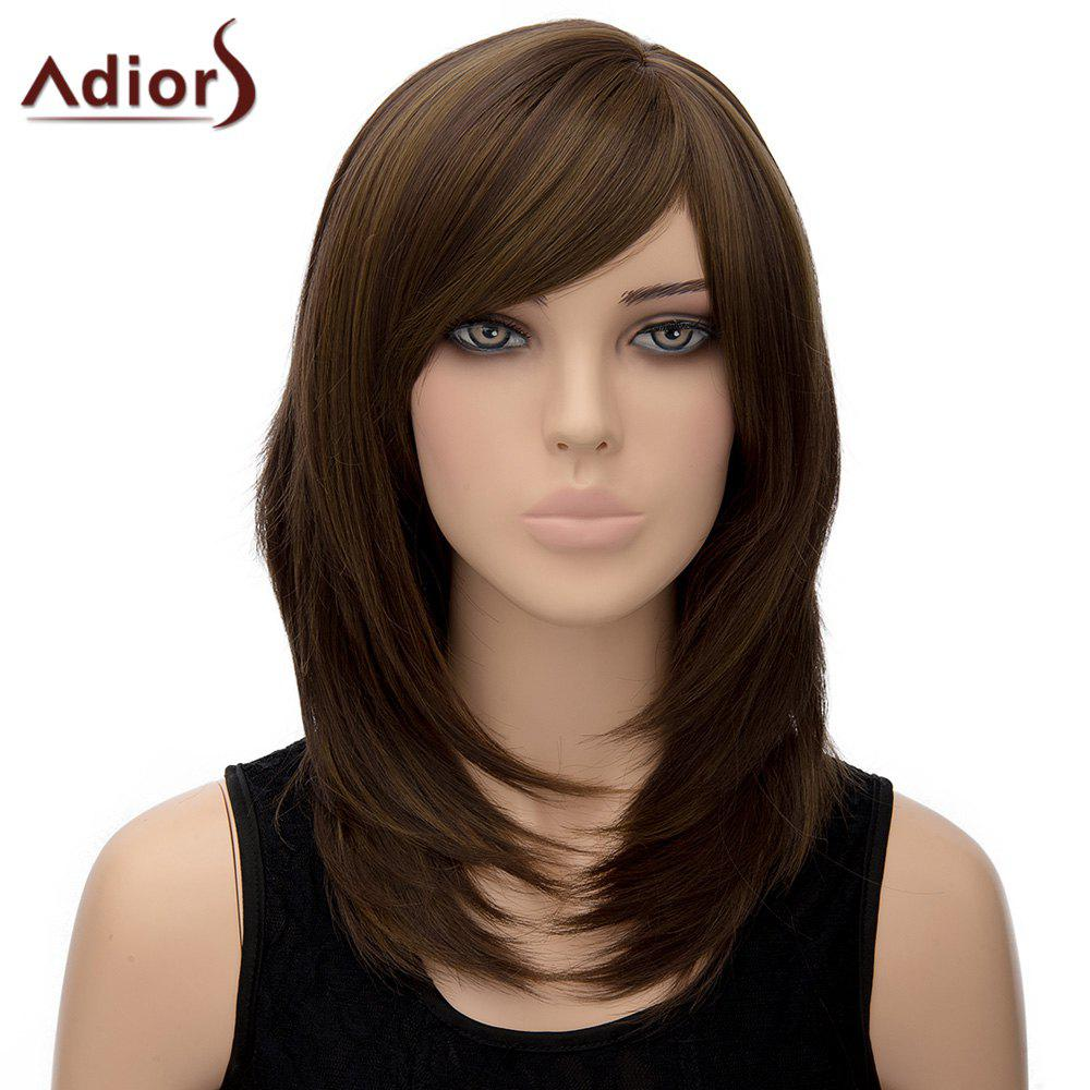 Noble Light Brown Mixed Side Bang Straight Tail Adduction Long Synthetic Wig For Women
