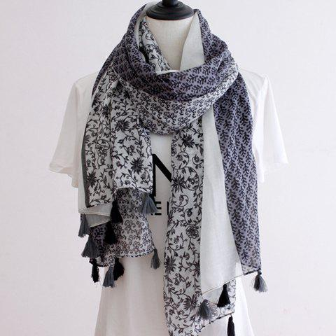 Chic Plant Pattern Tassel Pendant Women's Voile Scarf - GRAY