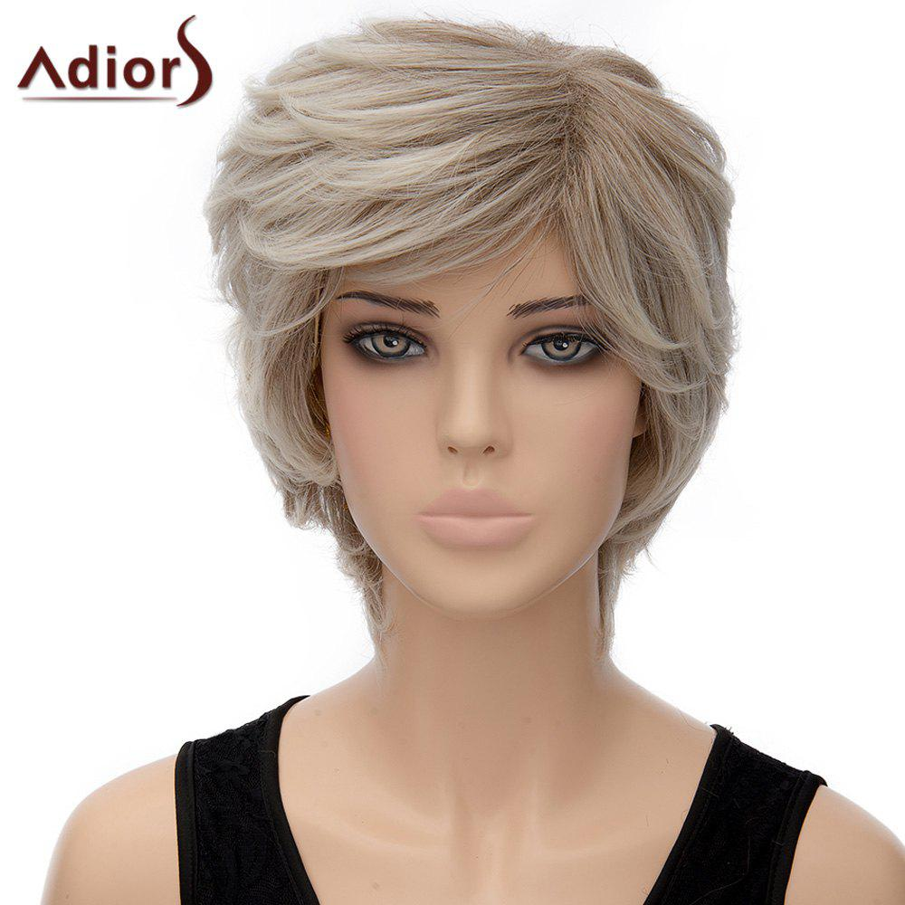 Fluffy Natural Wave Short Synthetic Fashion Mixed Color Women's Capless Adiors Wig - COLORMIX