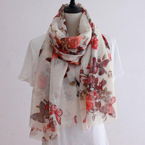 Chic Flower and Butterfly Pattern Fringed Edge Women's Voile Scarf - OFF WHITE