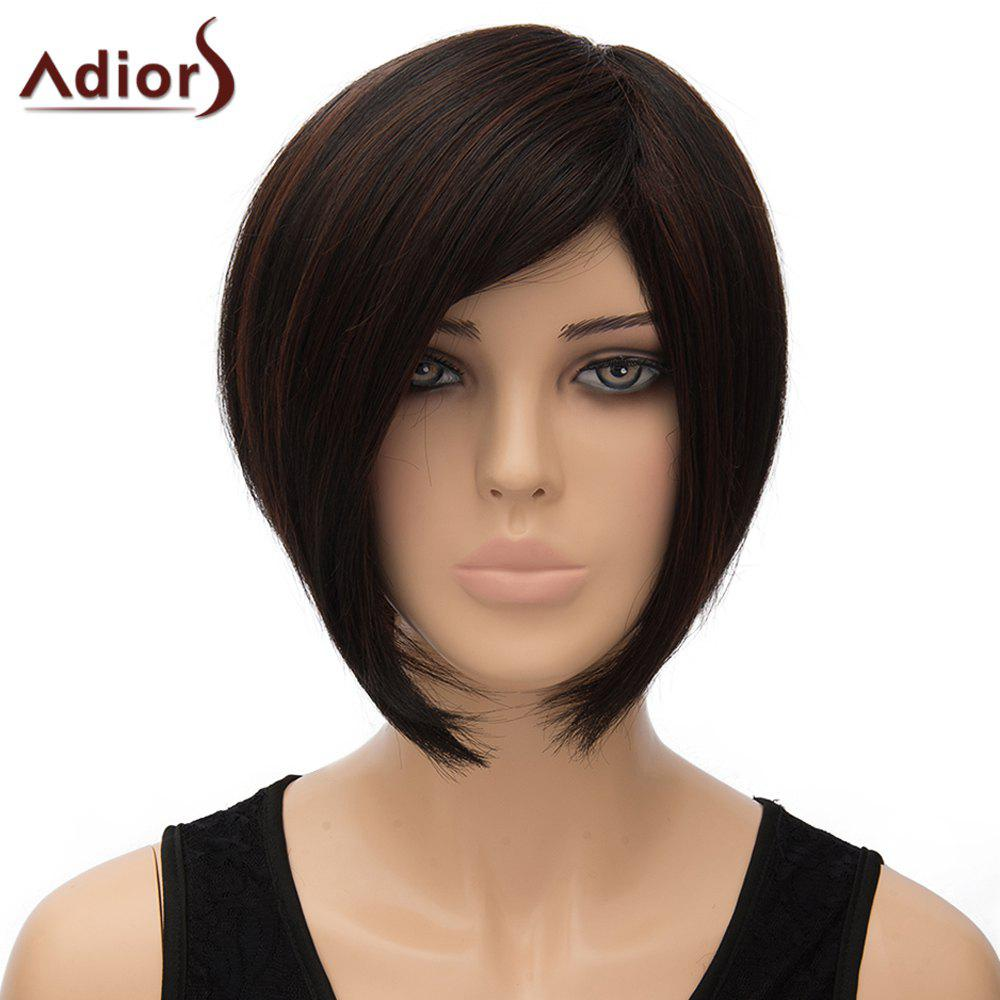 Trendy Side Parting Dark Brown Short Straight Women's Synthetic Adiors Wig - DEEP BROWN