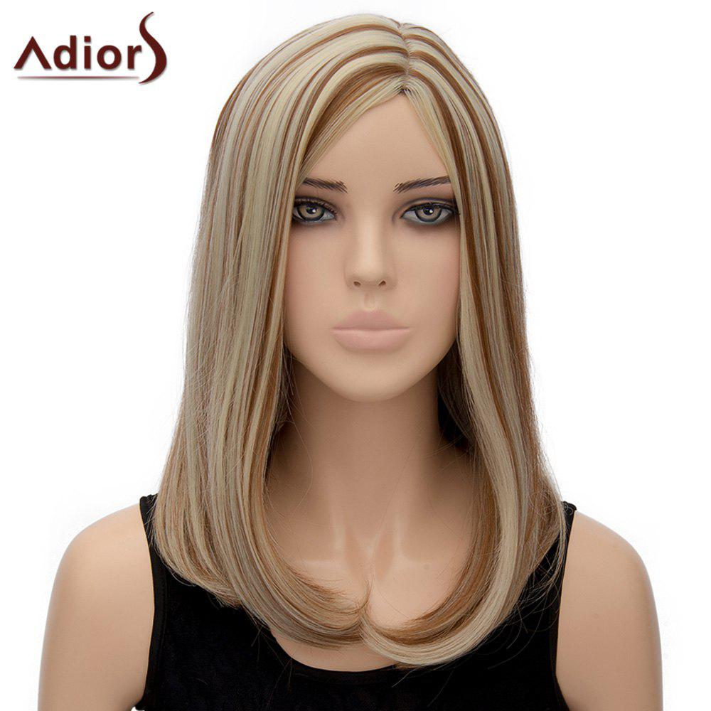 Stylish Medium Mixed Color Side Parting Straight Tail Adduction Synthetic Adiors Wig For Women