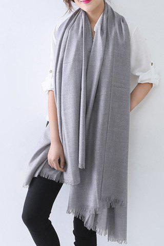 Chic Solid Color Raw Edge Women's Voile Scarf - GRAY